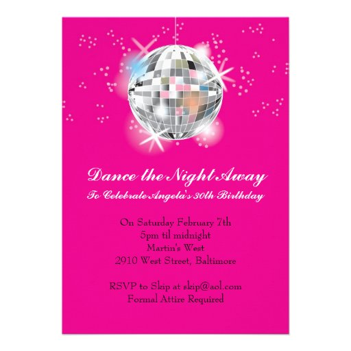 """Disco Party Invitation With Hot Pink Background 5"""" X 7"""