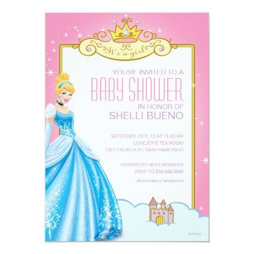 Disney Princess Baby Cinderella: Disney Princess Cinderella It's A Girl Baby Shower Card