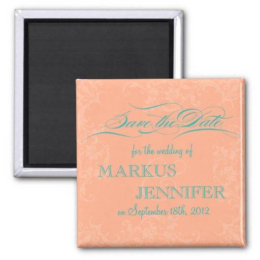 diy save the date magnets template - diy elegant coral teal save the date magnet zazzle