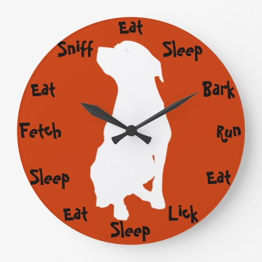 Dog Time Large Clock Zazzle