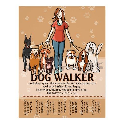 dog walking flyer template free - dog walker dog walking advertising template flyer zazzle