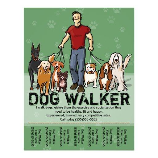 Dog walker dog walking guy grn promotemplate flyer for Dog walking flyer template free