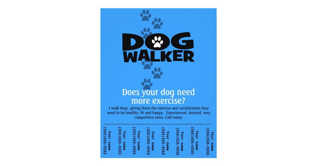 dog walking flyer template free - dog walker promotional tear sheet flyer template b zazzle