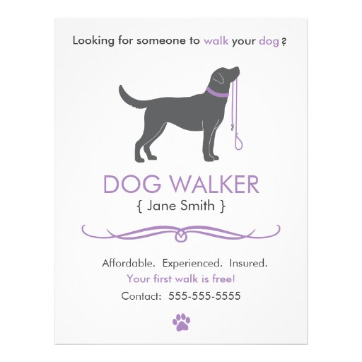 Free printable dog walking flyers the for Dog walking flyer template free