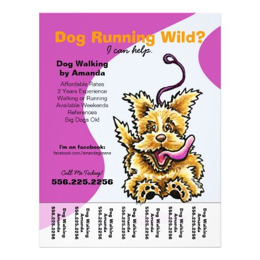 dog walking flyer template free - dog walker walking leashed terrier tear sheet flyer zazzle