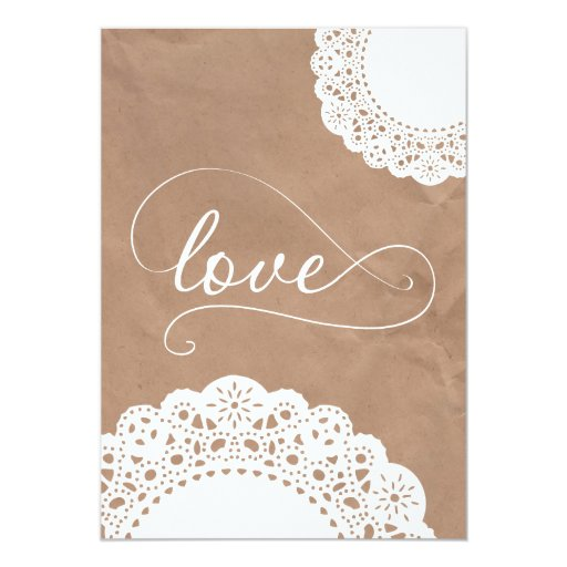 Where To Buy Wedding Invitation Paper: Doily And Kraft Paper Wedding Invitation
