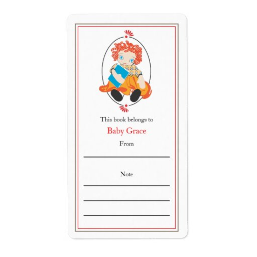 Doll bookplate shipping label zazzle for Bookplate templates for word