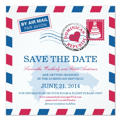 Dominican Republic Air Mail Wedding Save The Date