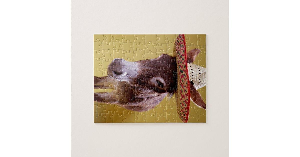 Donkey (Equus hemonius) wearing straw hat Puzzle | Zazzle