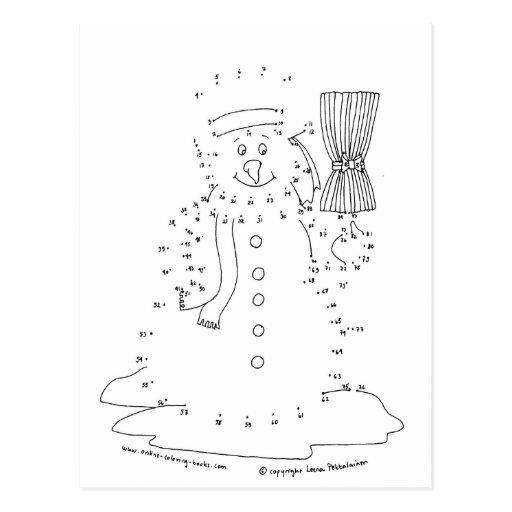Dot to Dot Snowman Postcard   Zazzle