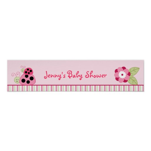 Baby Shower Custom Banners: Dotty Ladybug Personalized Baby Shower Banner Poster