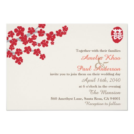 Wedding Invitations From China: Double Happiness Chinese Wedding Invitation