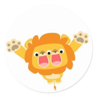 Double Trouble cute cartoon lion sticker sticker