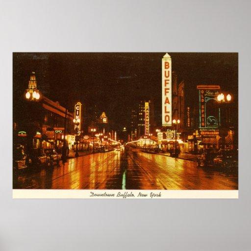 Downtown Buffalo Ny At Night Vintage Poster Zazzle