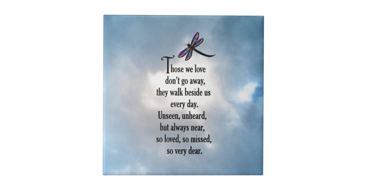 Dragonfly Quot So Loved Quot Poem Ceramic Tile Zazzle