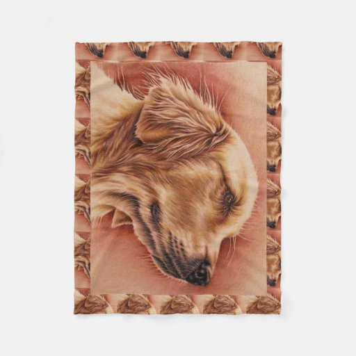 Drawing Of Golden Retriever On Blanket Zazzle