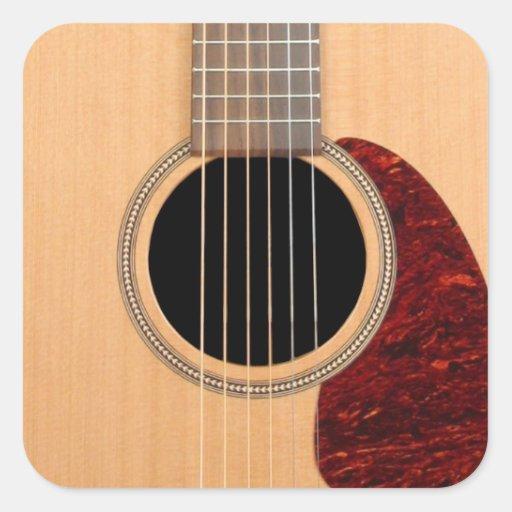 dreadnought acoustic six string guitar square sticker zazzle. Black Bedroom Furniture Sets. Home Design Ideas