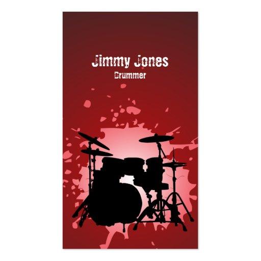 Drumkit Silhouette Splatter Red Business Card