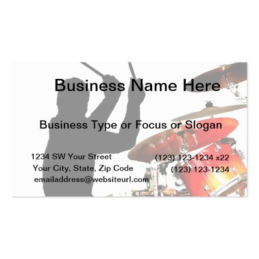 Drummer Sticks In Air Shadow Real Drums Business Card Templates