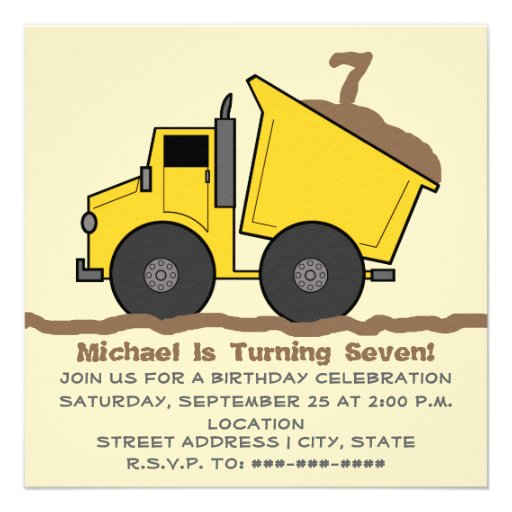 Personalized Truck Party Invitations