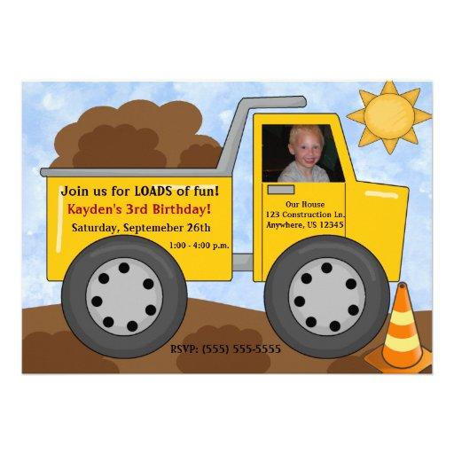 Personalized Construction Birthday Invitations