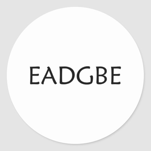 eadgbe guitar strings classic round sticker zazzle. Black Bedroom Furniture Sets. Home Design Ideas
