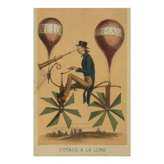 Early FLIGHT Illustration Balloon Cycle Art Posters