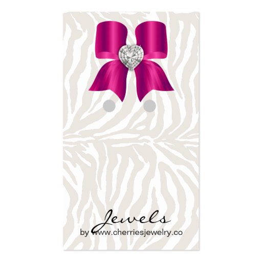 Earring Display Cards Cute Zebra Bow Jewelry Pink Business Card Template