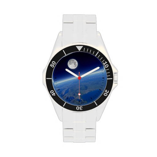 Earth and Moon View Wrist Watches | Zazzle