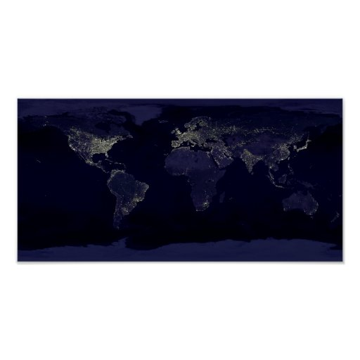 Earth Night Lights Space Poster | Zazzle