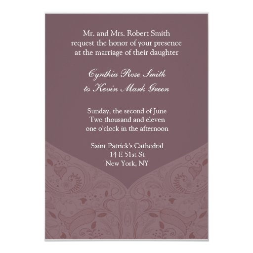 Earth Tone Mauve Wedding Invitation
