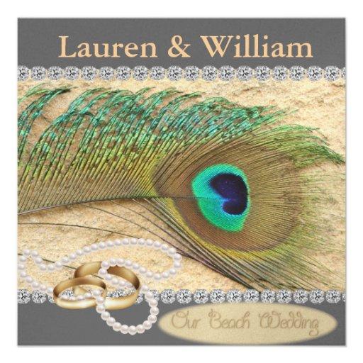 EARTH TONES & PEACOCK BEACH WEDDING INVITATION 5.25