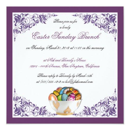 Easter Sunday Brunch Custom Invitations W/ Border
