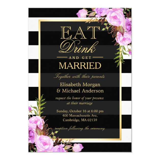 Personalized Black White Lavender Purple Invitations