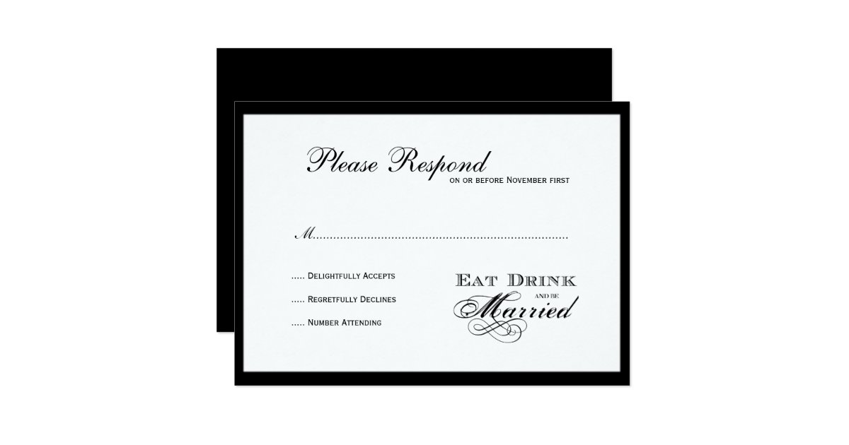 Wedding Invitations Eat Drink And Be Married: Eat Drink And Be Married Wedding Rsvp Card