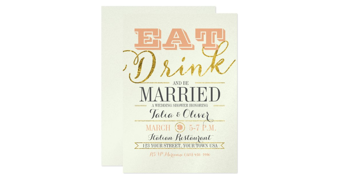 Wedding Invitations Eat Drink And Be Married: EAT DRINK AND BE MARRIED Wedding Shower Invitation