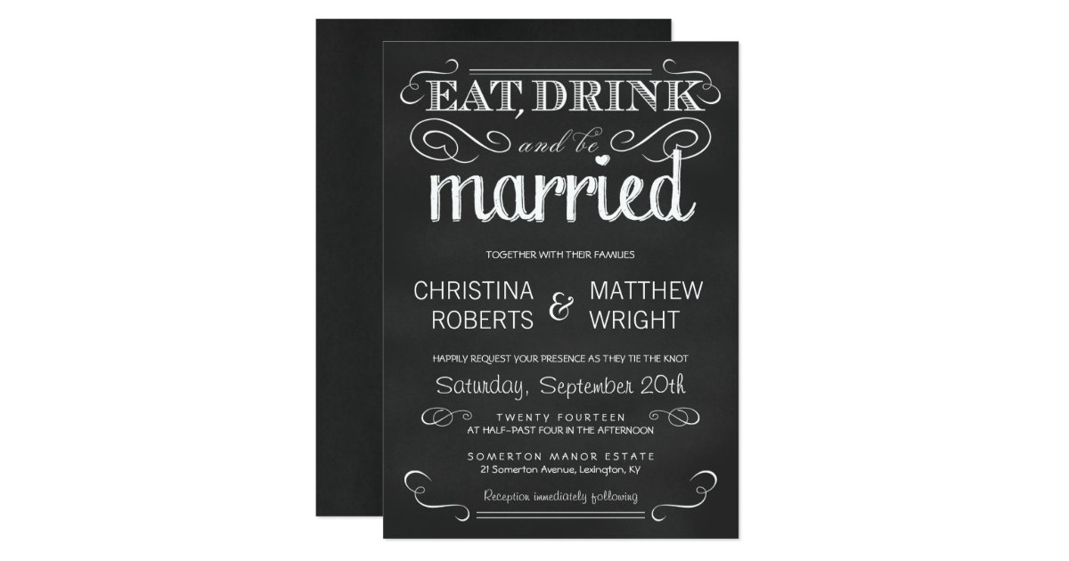 Wedding Invitations Eat Drink And Be Married: Eat Drink Be Married Chalkboard Wedding Invitation