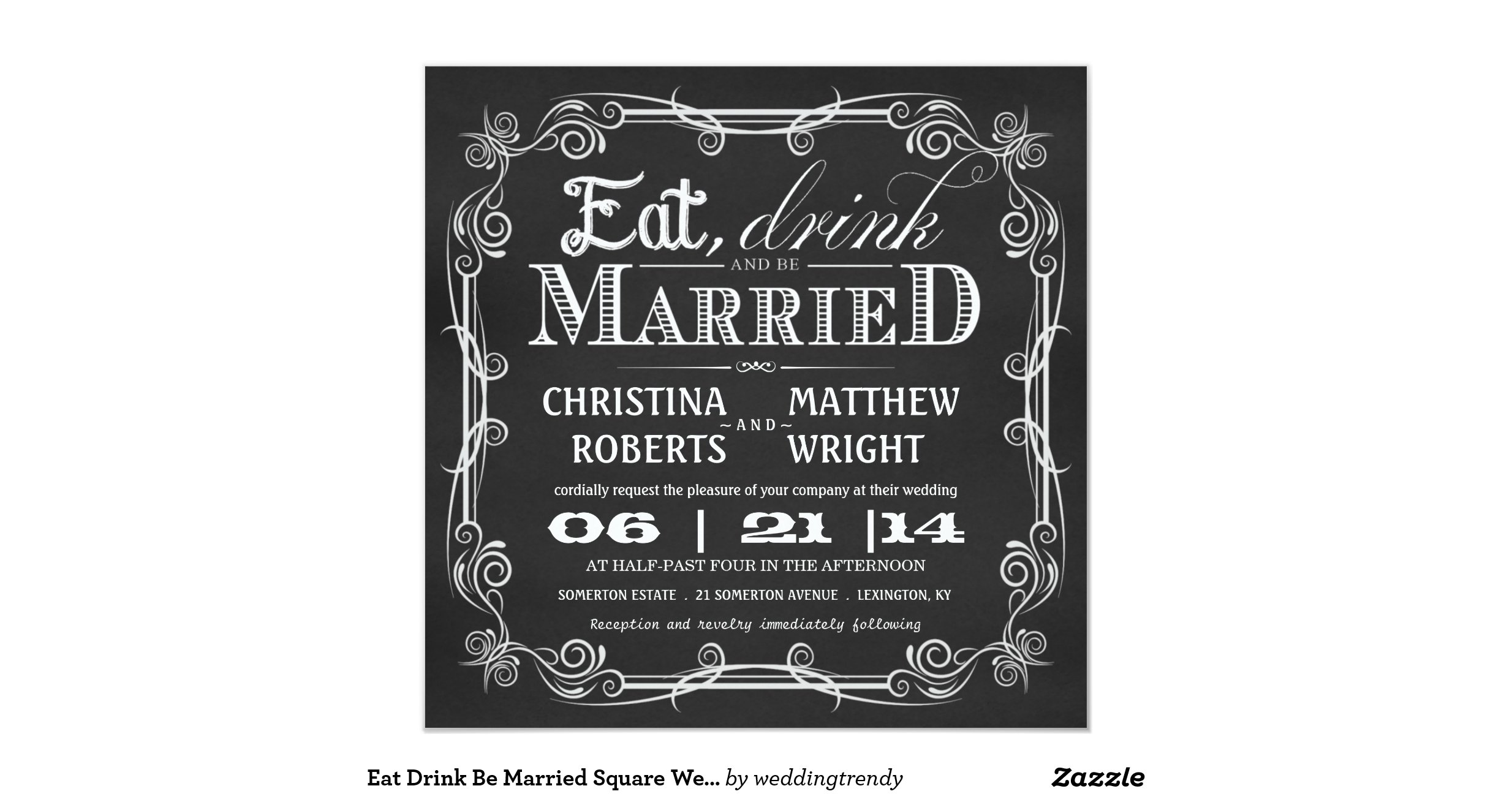 Wedding Invitations Eat Drink And Be Married: Eat_drink_be_married_square_wedding_invitations