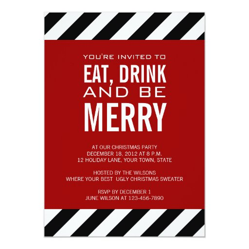 Work Christmas Party Invites: EAT DRINK BE MERRY CHRISTMAS PARTY INVITATION