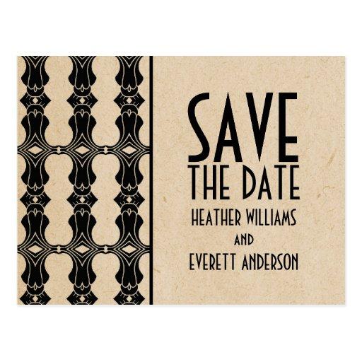 ebony art deco border save the date postcard zazzle. Black Bedroom Furniture Sets. Home Design Ideas