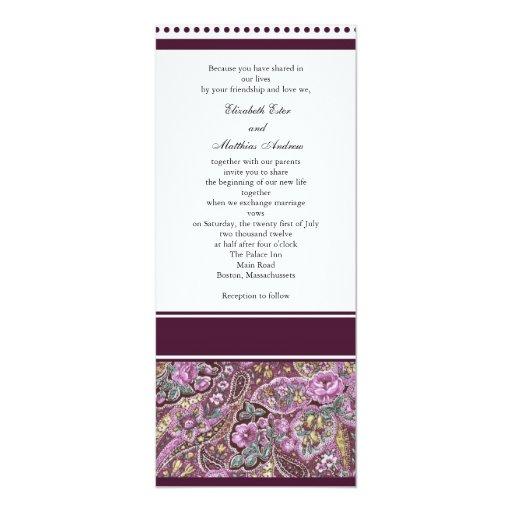 Eggplant Paisley Wedding Invitation