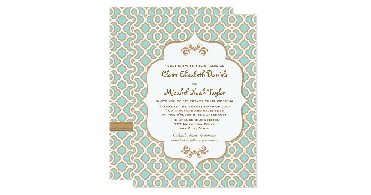 Moroccan Wedding Invitations: Eggshell Blue And Gold Moroccan Wedding Invitation
