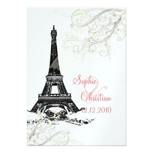 """Eiffel Tower Wedding Invitations: Eiffel Tower + Swirls Wedding Invitations 5"""" X 7"""