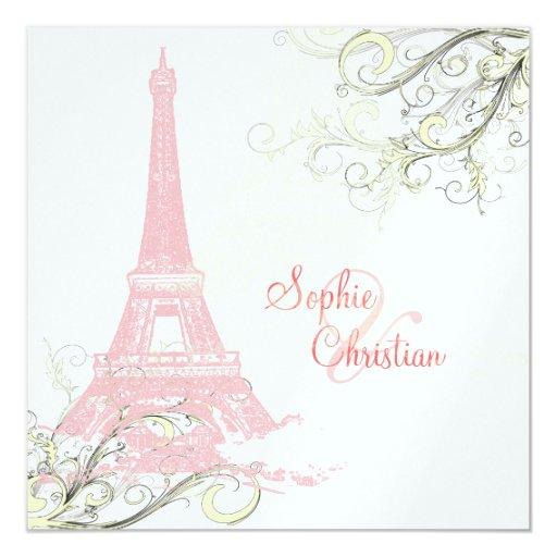 Eiffel Tower Wedding Invitations: Eiffel Tower + Swirls Wedding Invitations