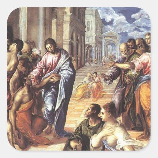Stile Peplo Greco: El Greco- Christ Healing The Blind Square Sticker