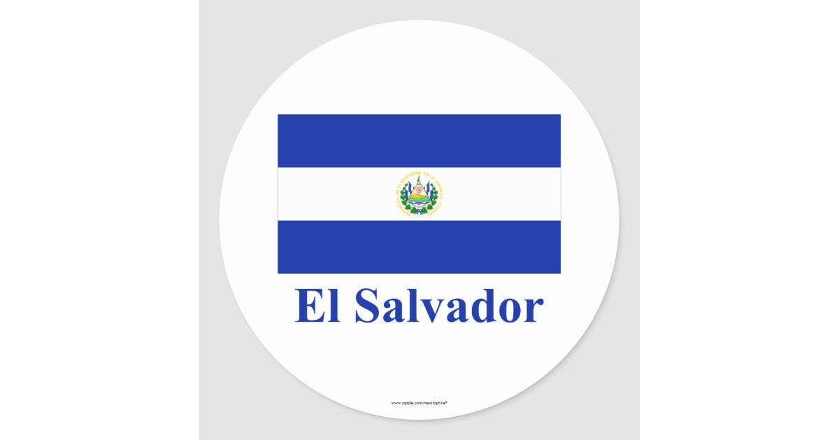 El Name: El Salvador Flag With Name Classic Round Sticker