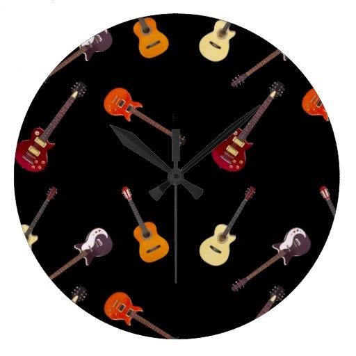 Electric Amp Acoustic Guitar Collage Wallclock Zazzle