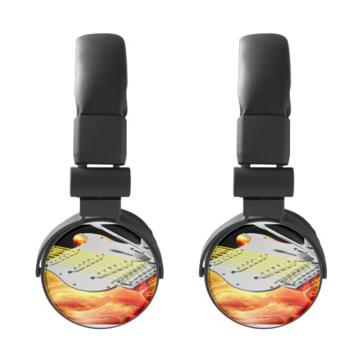 electric guitar art 2 headphones zazzle. Black Bedroom Furniture Sets. Home Design Ideas
