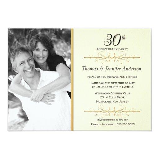 30th Wedding Anniversary Invitations: Elegant 30th Wedding Anniversary Party Invitations