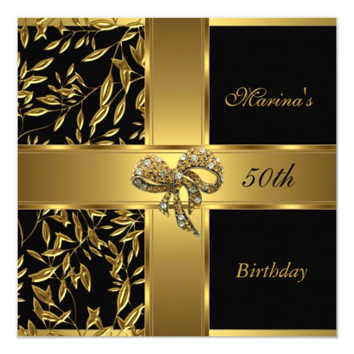 Elegant 50th Birthday Black Gold Floral Bow 2 Invitation
